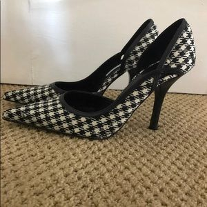 Charles David Black and White checkered heels